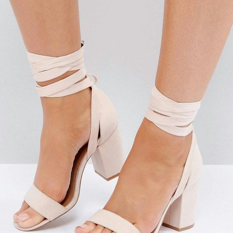 8194acdf87da Asos wide fit howling tie leg heeled sandals in nude size a - Depop