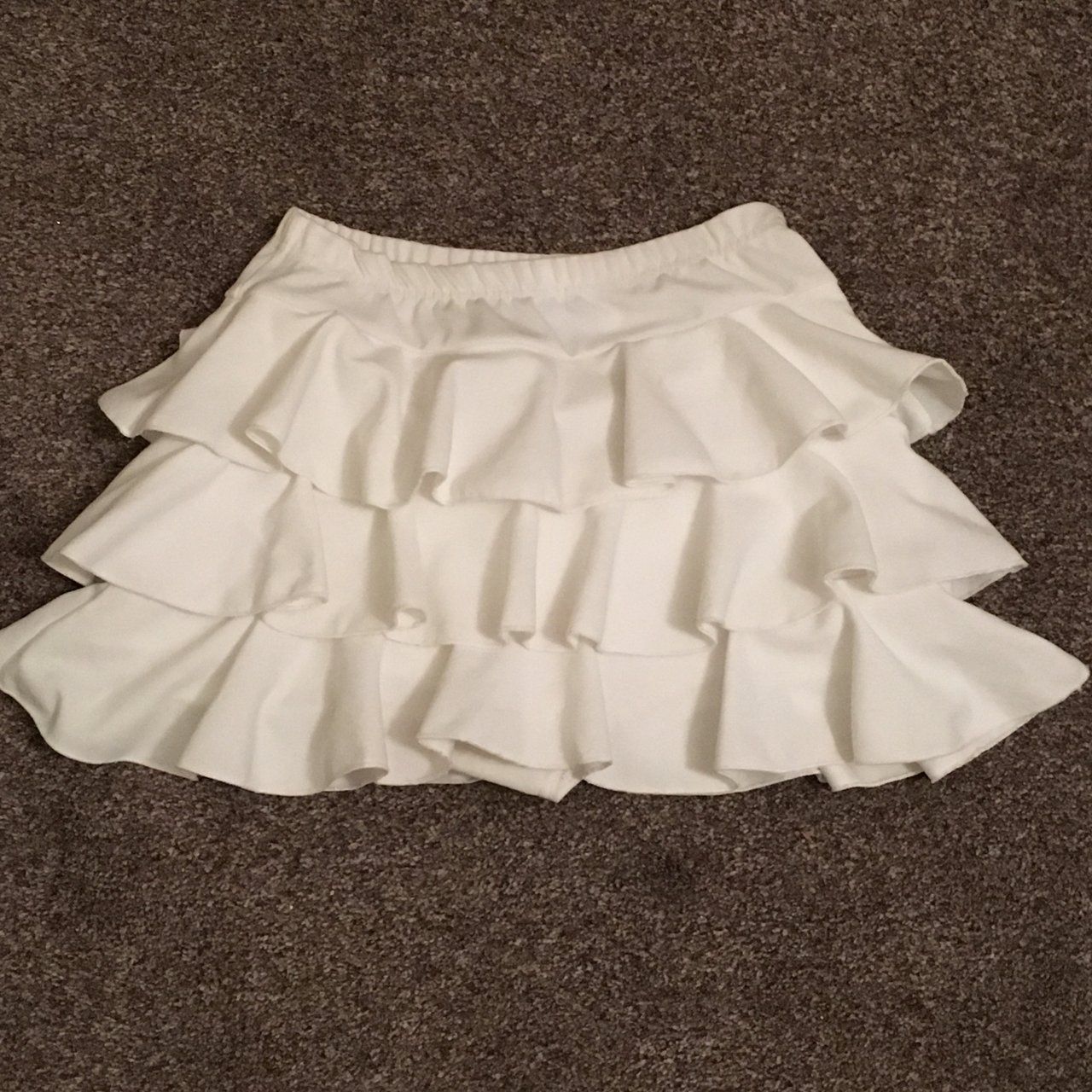 cb33a0c9d @samhbx. last month. Leicester, United Kingdom. White frill ruffle mini  skirt ...