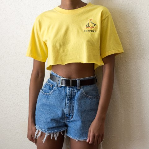 1544e9df2cd736 Yellow cropped tee with embroidered cozumel logo on the and - Depop