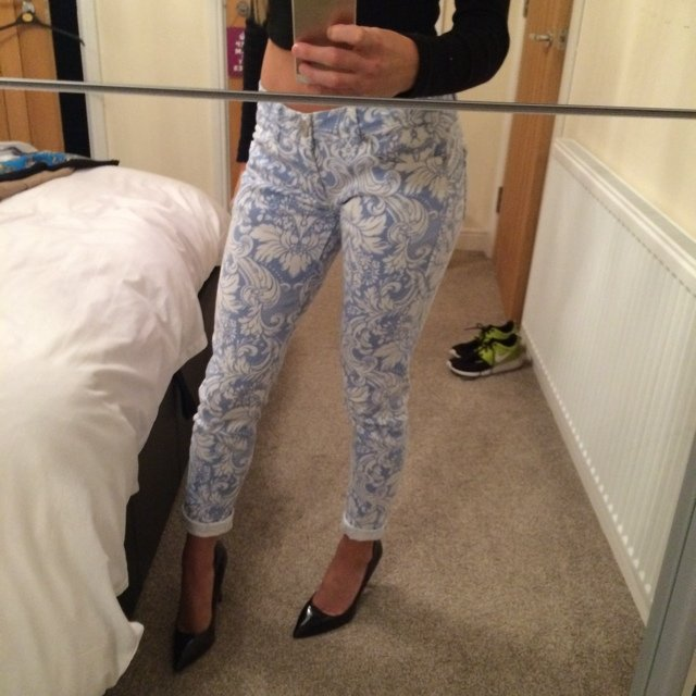 beccc913ad BABY BLUE AND WHITE PAISLEY PATTERN JEANS UK 8 - WORN TWICE - Depop