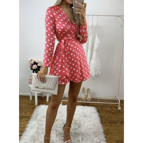 619a1c1ff9a @amy6397. 2 months ago. Chesterfield, United Kingdom. gorgeous dancing  leopard marley dress polka dot mini wrap coral red ...