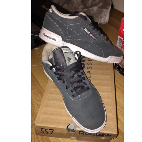 6db9d1365 Reebok Classic dark grey nubuck, have been worn but still 6 - Depop
