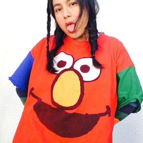 a8889b0d1 Vintage Y2K upcycled by yours truly Elmo color blocked tee. - Depop