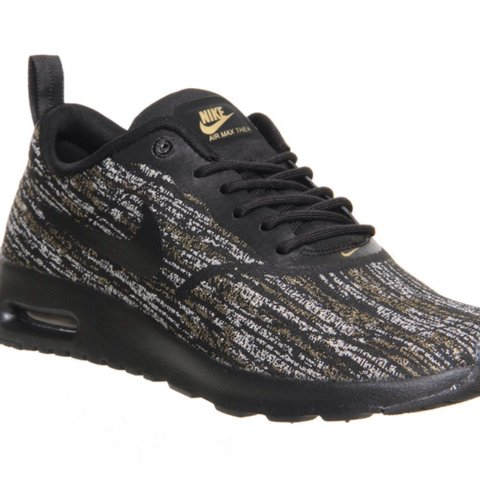 f99dace6ad @officeshoes. 3 years ago. London, UK. Womens Nike Air Max Thea Black  Metallic Gold ...