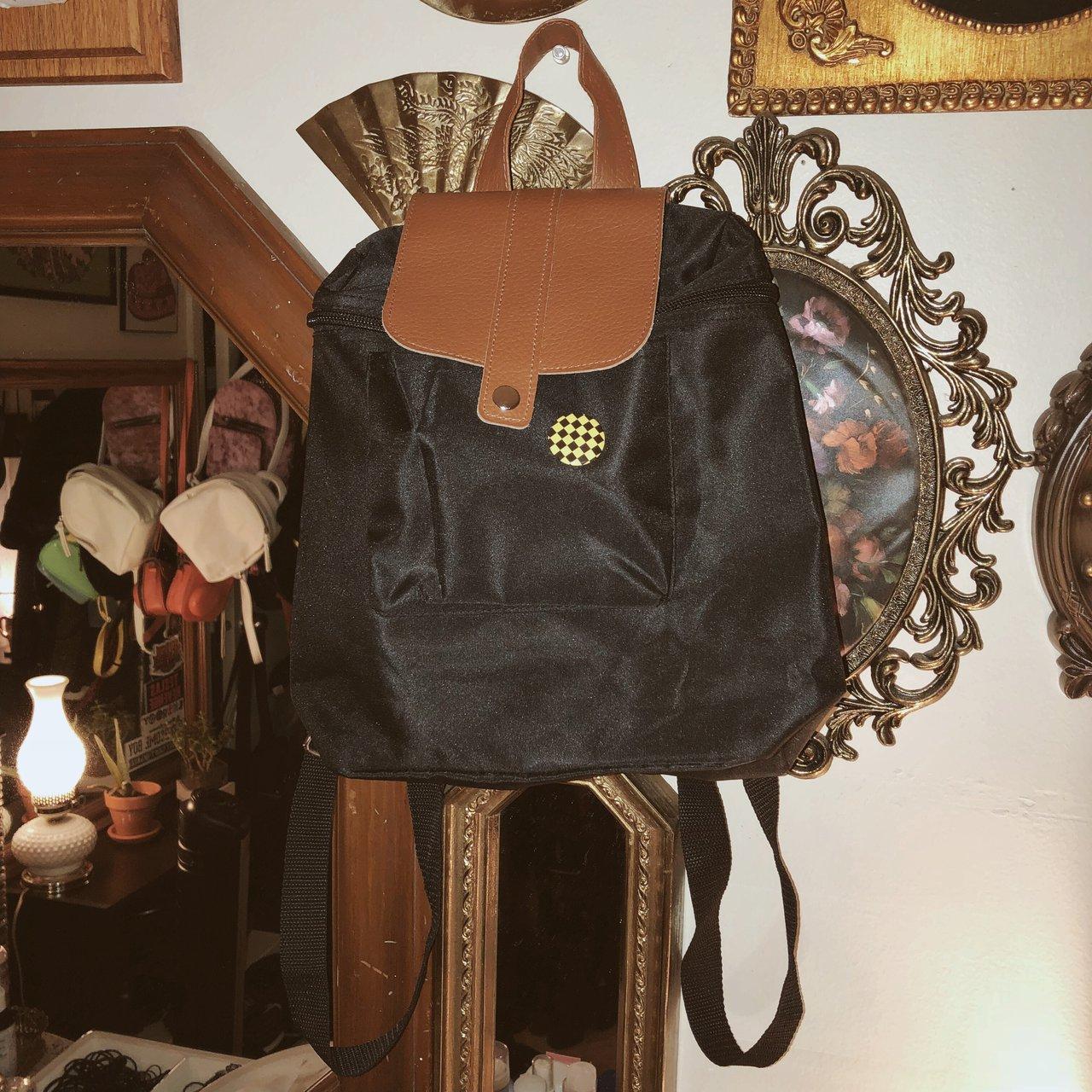 No-name brand black mini backpack. Canvas faux leather. - Depop 6449c28367219