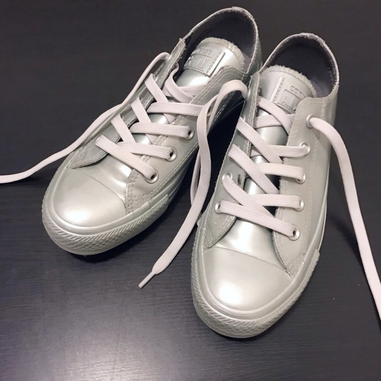 new specials new lifestyle buy popular Silver grey rubber converse sneakers size 6 Great... - Depop