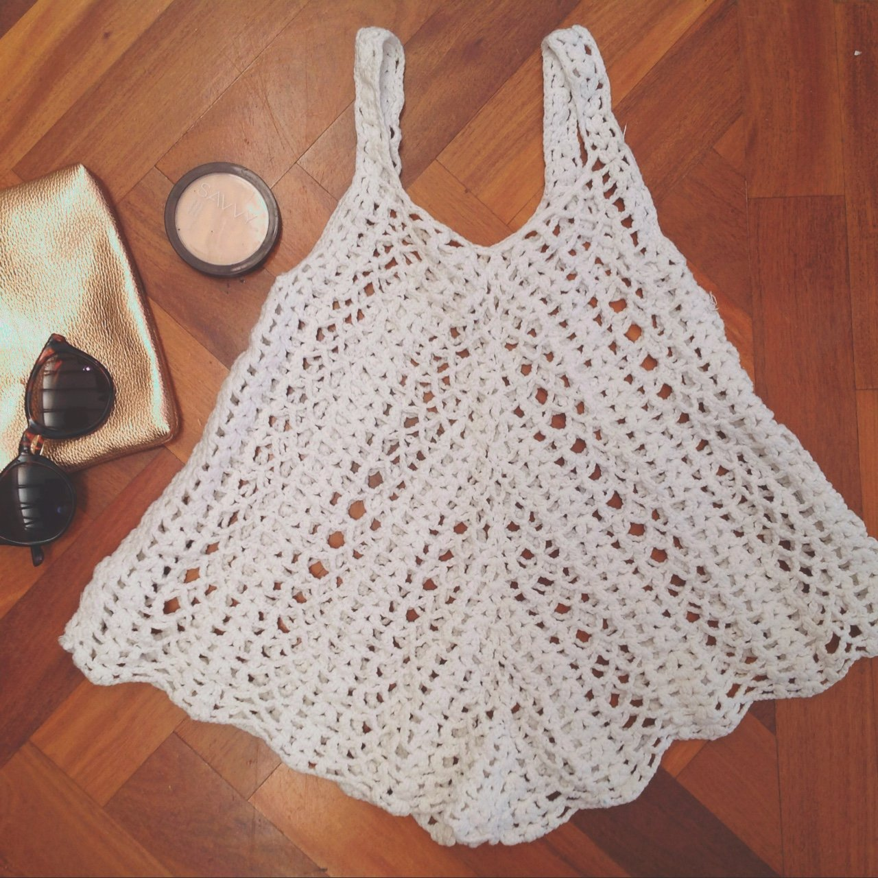 Small White Crochet Knit Top No Tags On Item Knitted For Depop