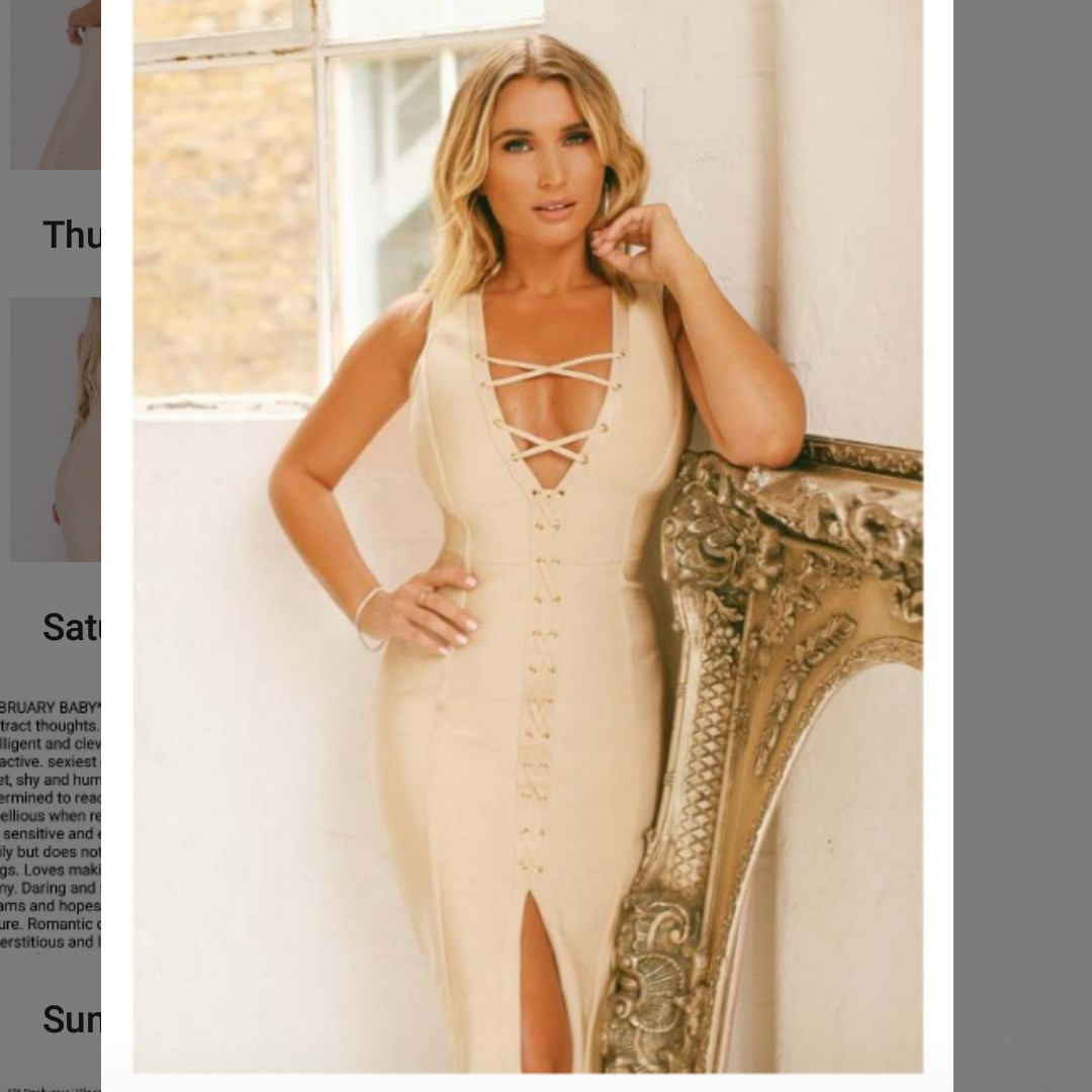 Ams Nude billie faiers nude lace up bandage dress, size 12. - depop