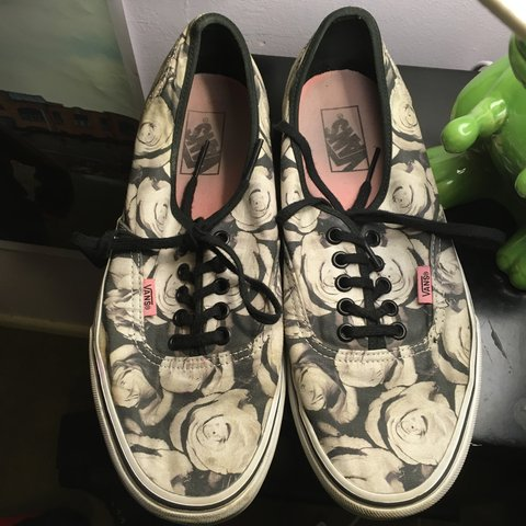 c518cf303a0f54 Black and white rose print vans. Purchased about 2 years ago - Depop