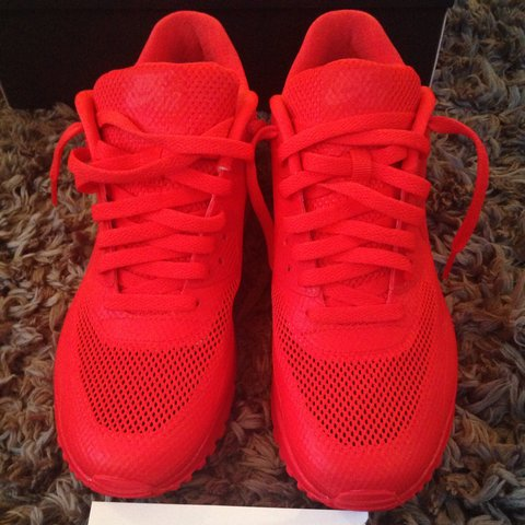 e7d515c894b1 Nike air max 90 hyperfuse solar red size UK 8. Worn 3 times - Depop