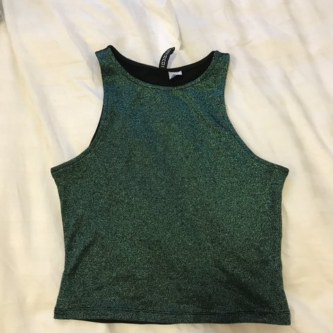 50cdd7a5d4432c H M green and black glitter crop top. Bnwt. Unworn. Size XS. - Depop