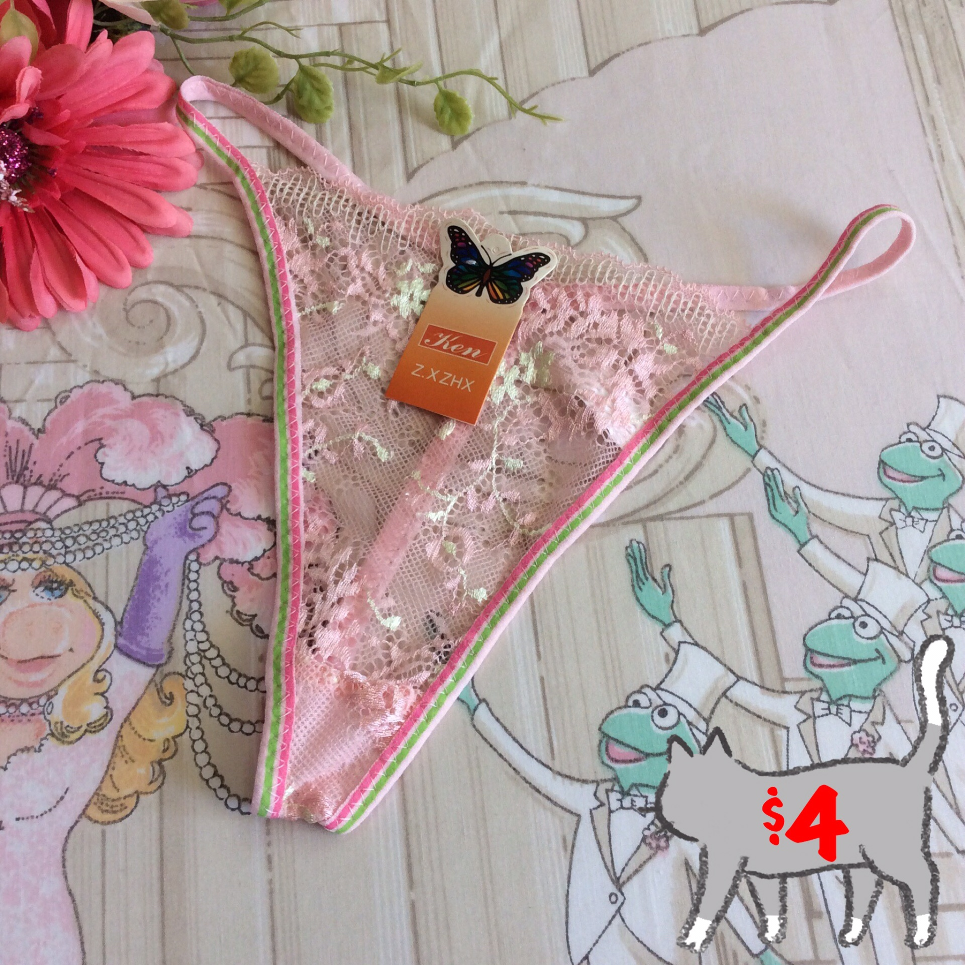 Brand New Floral Lace Thong