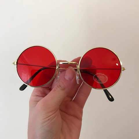 438d3f1903c Red John Lennon style glasses round circular red lens with - Depop