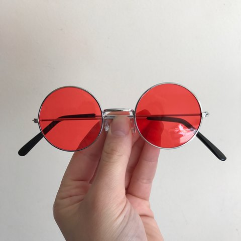 3c6bb55832d With uv protection Red John Lennon style circle sunglasses a - Depop