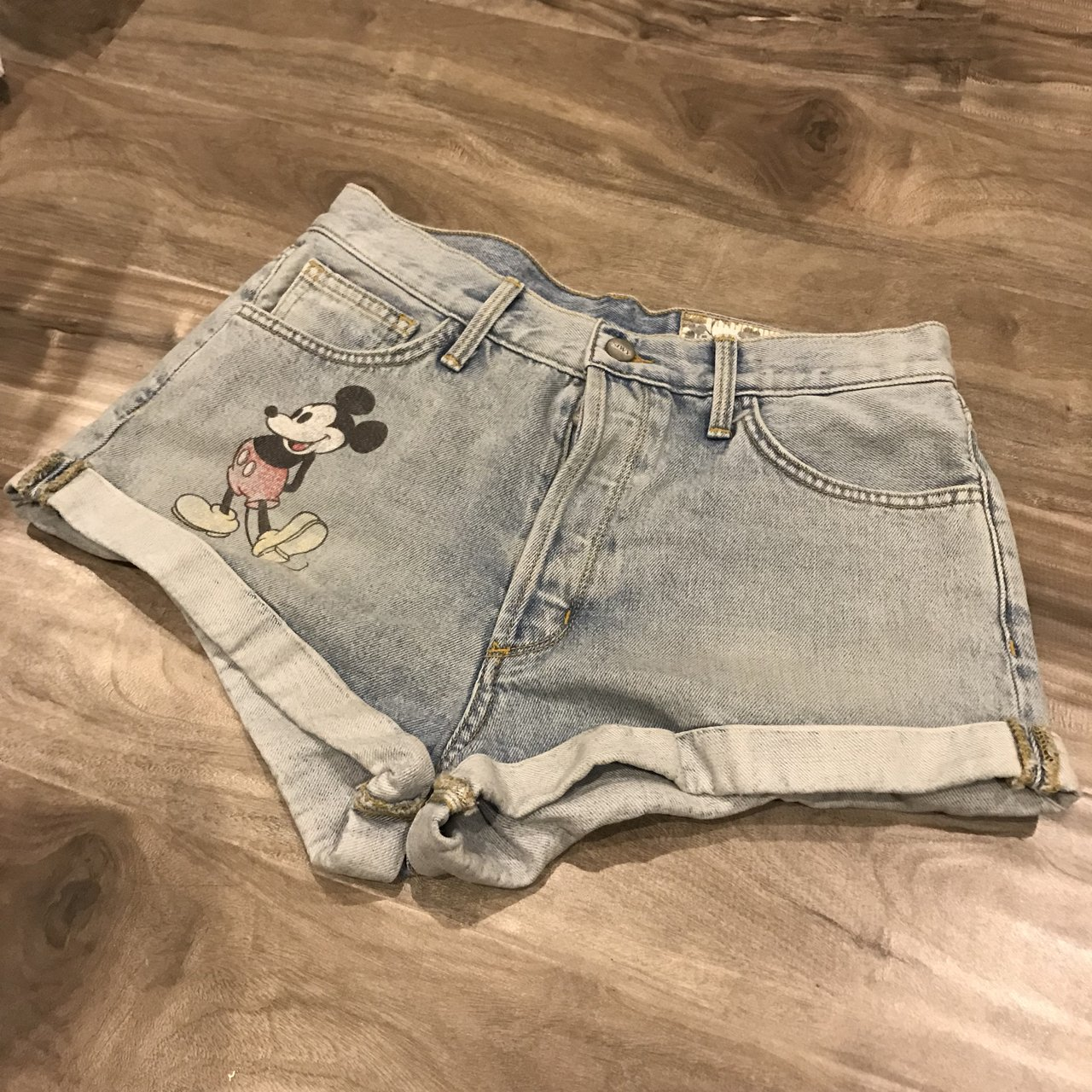 69a6a1d37c SIWY Mickey Mouse denim shorts size 28. These are sooo cute - Depop