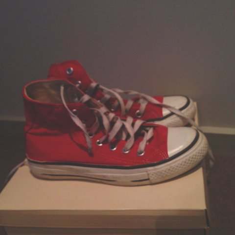 3b3c61fee2d9 Red converse high tops size  converse  red  canvasshoes FREE - Depop