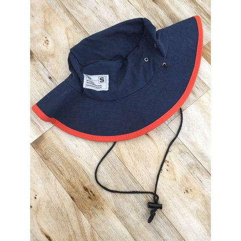 Stussy sun hat   bucket hat   safari hat. Navy blue rip hat - Depop cebdee0e238