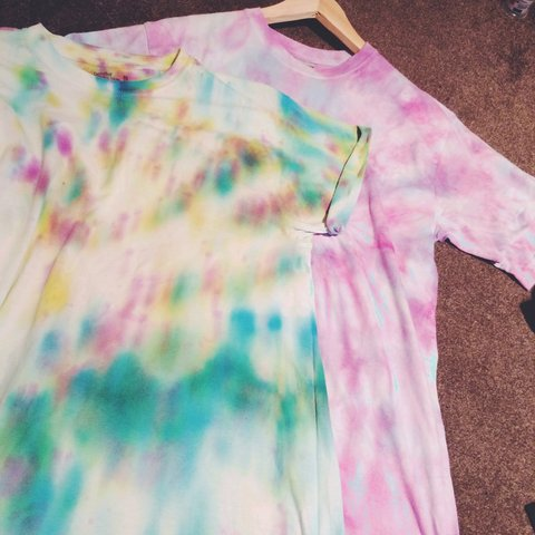 cbf39edab Pastel Coloured Tie Dye T-Shirts. Both been worn a lot but a - Depop