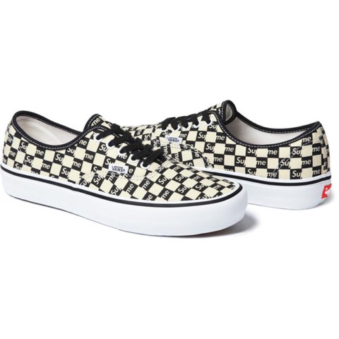 f137abc6b8d2 Supreme X Vans Checker Logo authentic Pro Black UK 10 • sold - Depop