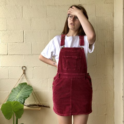 7863ffa995 Red maroon overall dress