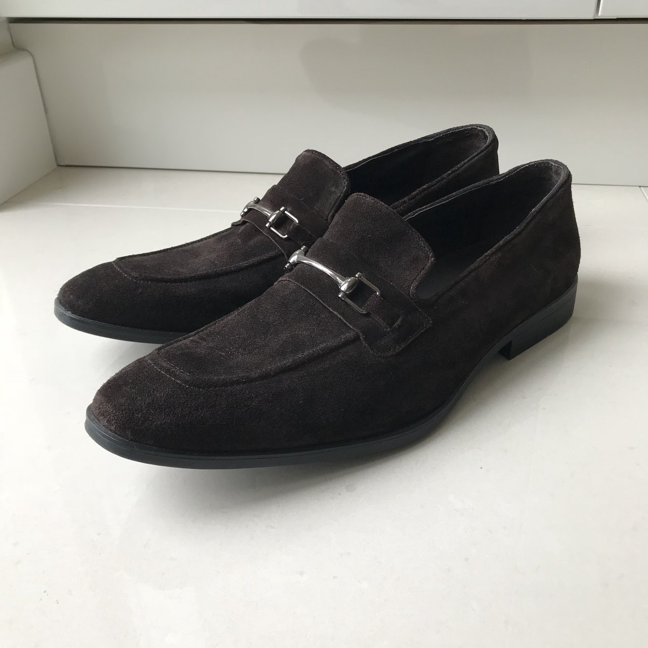 001c35c6c9c Dark brown suede loafers with silver buckle detailing. Been - Depop