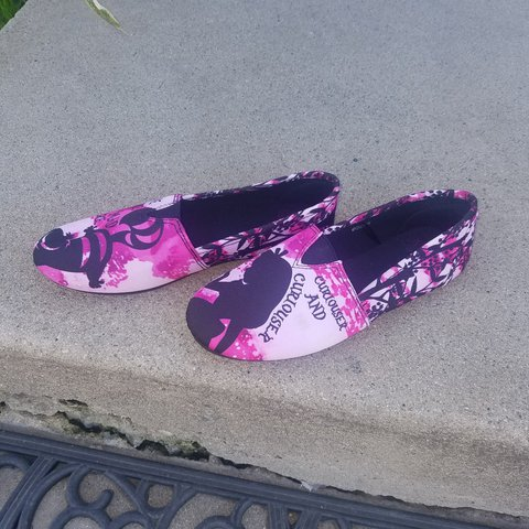 70209924a1c Pink and black TOMS-style fabric slip ons - official Alice - Depop