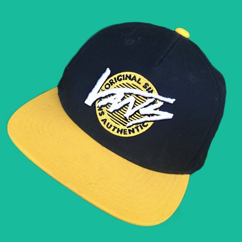 c58a53711d359 Authentic vans SnapBack cap. Black and yellow design with a - Depop