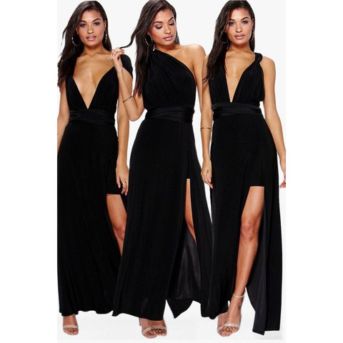 d1e12dab3f1 Black multiway dress with slit up the leg originally from it - Depop