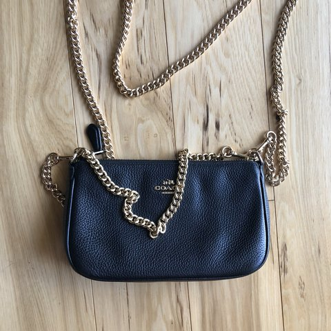 f4d205ad6 Chic lil crossbody purse from coach. Black leather with gold - Depop