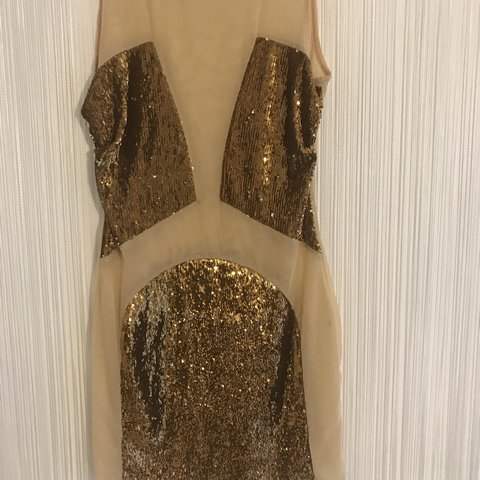 0bd765b6 @toyahk. 4 months ago. Brentwood, United Kingdom. Designer!!!Bought in  Choice Womens Wear! Stunning Gold Sequin panel mesh dress ...
