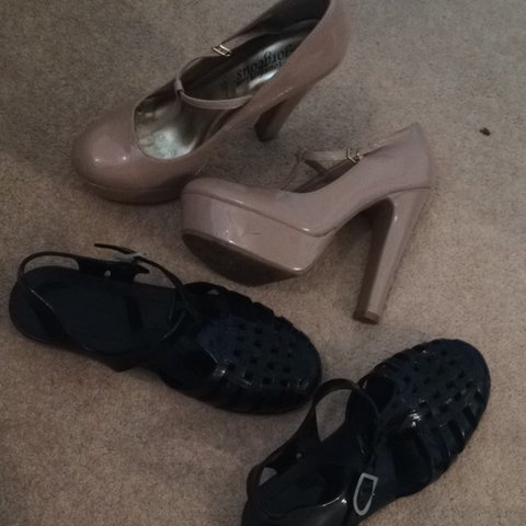 94a2f208f10 Black jelly shoes jellies worn once size 4. £2 Nude heels £3 - Depop