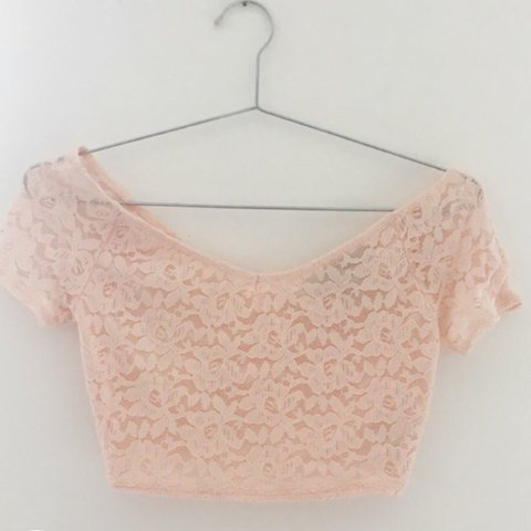f1ff96b6dc766 Baby pink lace crop top from Topshop in petite. Would look a - Depop