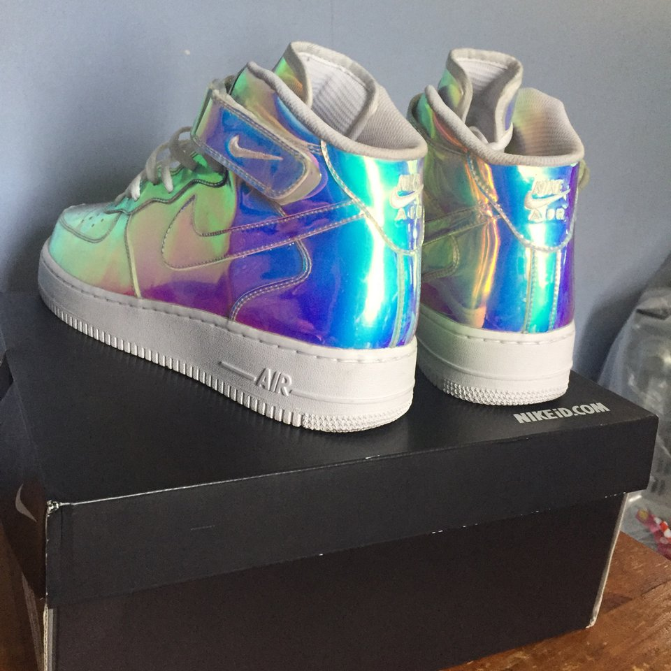 air force 1 mid iridescent nike id
