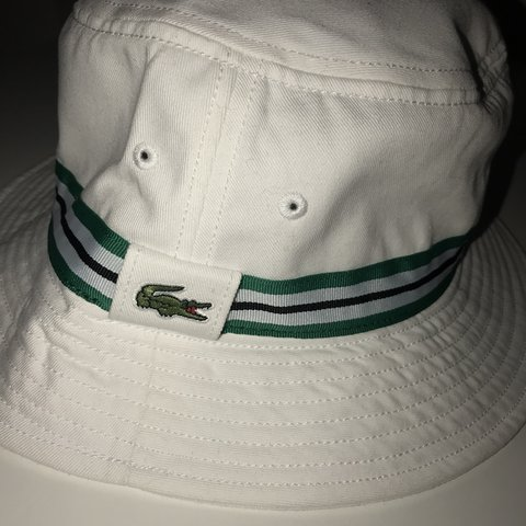 b5941bc45 Lacoste bucket hat Large Brand new with tags White - Depop