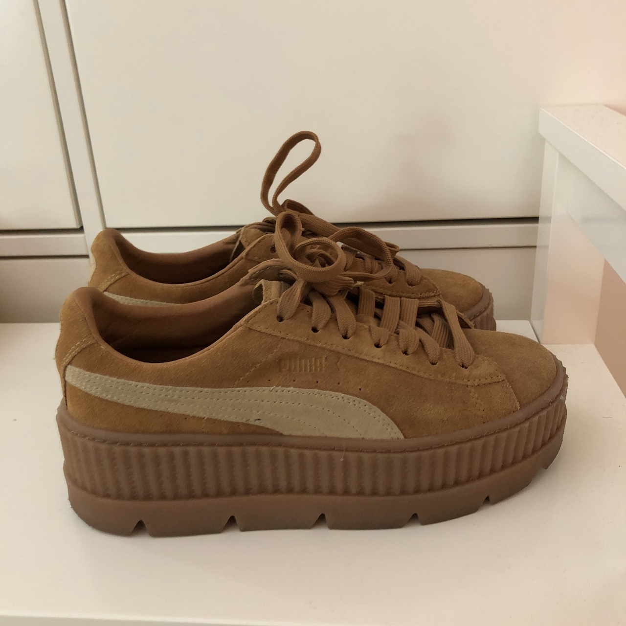 competitive price edf79 656fe Fenty puma creepers (tan color) Very lightly worn... - Depop