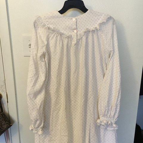 darling vintage thrifted flannel white ruffle lace and pink - Depop eaac95878