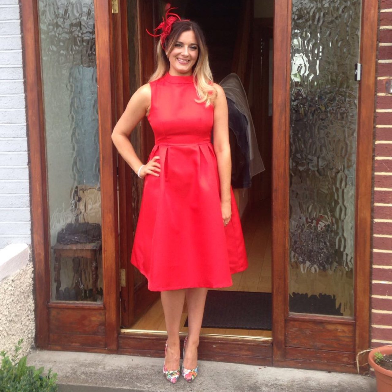 ea1ac137a00f Wedding guest outfit dress and fascinator, red, high neck, - Depop