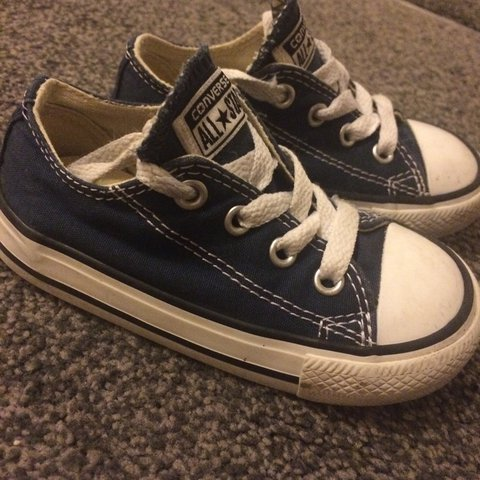 db1f6d52224b62 Baby boy toddler infant converse size uk 6. Navy blue. Worn - Depop