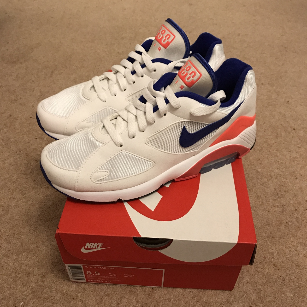 Nike Air Max 180 Ultramarine Solar Red Size UK Depop