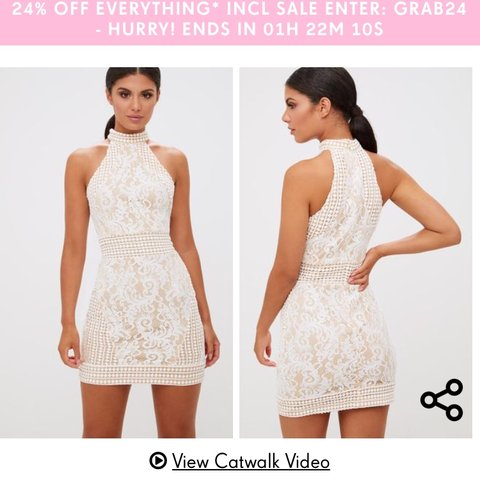 f0dad9c2558 White high neck lace lace crochet bodycon dress from Pretty - Depop