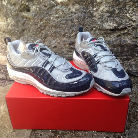 5bc34a9349 @cruizen. 3 years ago. Plymouth, Plymouth, UK. Navy Supreme x Nike Air Max  98 | Size UK 9 | Brand New ...