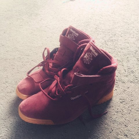4a90434811c4 Claret reebok classics hi tops very rare and bought from I m - Depop