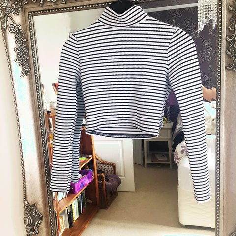 c214bf65e4bf37 Black and white long sleeved striped crop top
