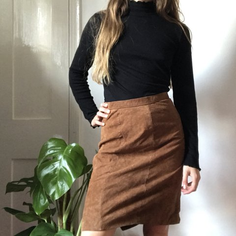 80cfe0fed6c604 Sexy af real leather pencil skirt with a slit at the back in - Depop