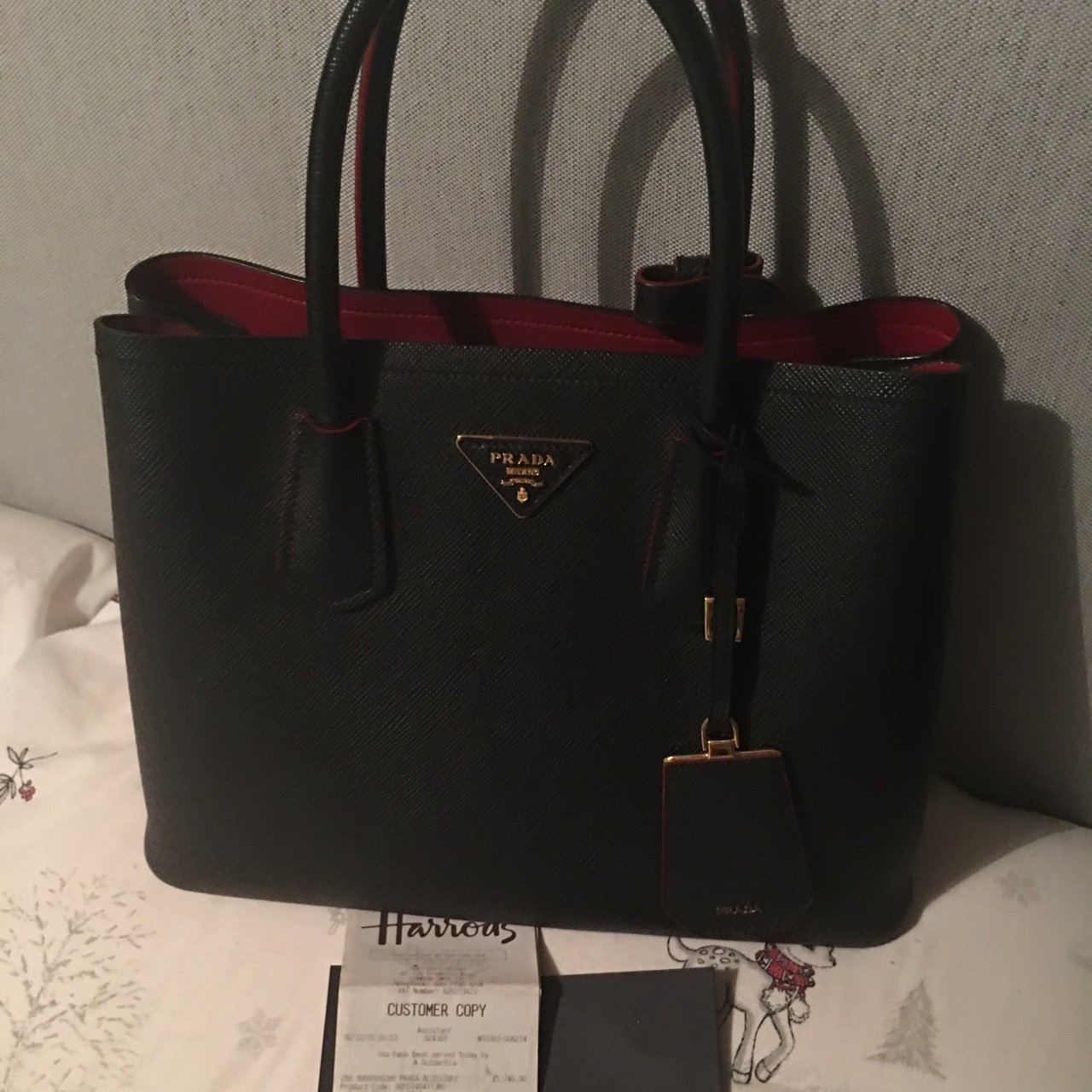 296c3ca1b94d Reduced** Prada double bag. Mid sized with red interior. - Depop