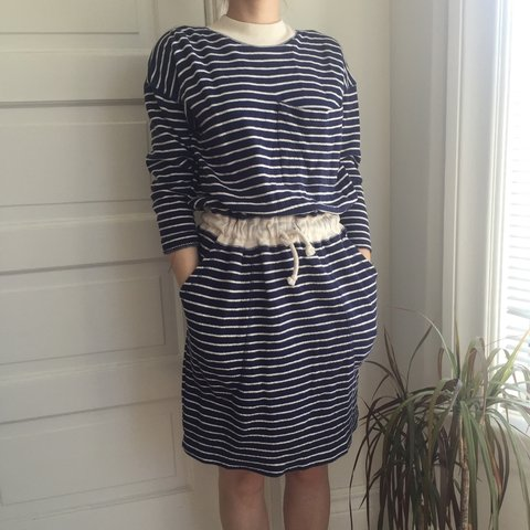a618081050c Vintage 80 s sailor stripe dress. Dress w  navy and cream XS - Depop