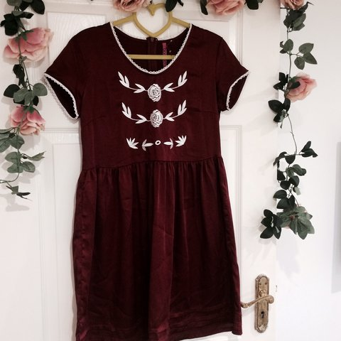 a2f037a2355 Super cute burgundy red satin vintage style smock dress from - Depop
