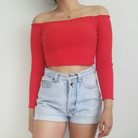 3eb556e78fb844 Red Off the Shoulder Long Sleeve Crop Top | Bright red top a - Depop