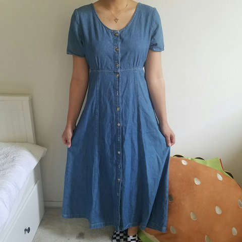 247952ee784 Vintage Medium Wash Denim Duster   Maxi Dress