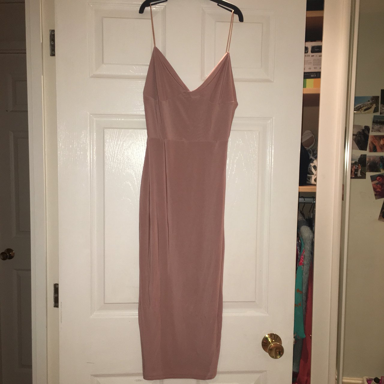 6868ca739d Boohoo size 10 slinky midi dress. Worn once. - Depop